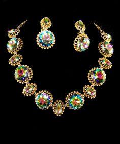 Schiaparelli Jewelry | SCHIAPARELLI Watermelon/Tourmaline Necklace & Clip Pendant Earrings ...