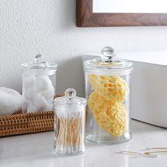 Bathroom Vanity Organization, Bathroom Storage, Apothecary Jars Bathroom, Round Bath, Makeup Sponges, Glass Canisters, Bath Salts, Clear Glass, Balls
