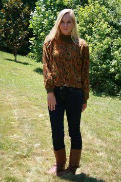 80s Vtg Turtleneck Paisley Fall colors Boho Retro Boxy Pullover Sweater sz S M #1045Park #TurtleneckMock