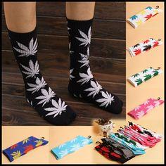 Unisex Mens Womens Marijuana Weed Plantlife Leaf Printed Ankle High Cotton Socks