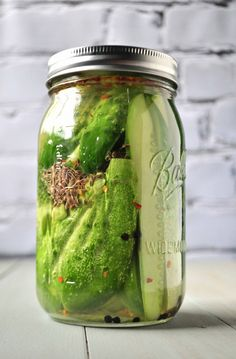 These are the easiest and tastiest refrigerator pickles, EVER, and they require no canning. Dump some ingredients and wait overnight.