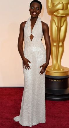 Lupita Nyong'o... Dress specially made for Lupita. Over 600,000 pearls, and diamonds!