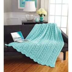 Our Grand Prize Afghan Contest Winner! Designed by Billie Birchfield. Kit to knit includes Mary Maxim Ultra Mellowspun yarn. Shown in Robin's Egg or choose any colour. Knitted Afghans, Knitted Blankets, Latch Hook Rug Kits, Knitting Designs, Knitting Patterns, Crochet Patterns, Blanket Patterns, Knitting Stitches, Vintage Sewing Machines