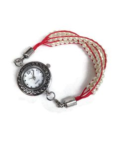 Red Braided, White Glass Bead Ladies Watch, Silver watch face, Red Hemp Watch, Red Multi strand Watch Strap