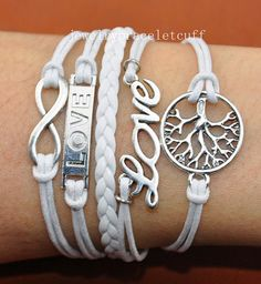 jewelry Infinity, Love & wish treen Charm Bracelet- silver, cotton ropes Leather Braid Bracelet-Personalized gift, Friendship gift   SH-0824