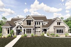 With over square feet and five bedrooms, this exciting Craftsman house plan was designed for a large family with amenities for all.Double doors open to a foyer that widens further back with trem European House Plans, Craftsman Style House Plans, Two Story House Plans, Cottage House Plans, Country House Plans, Dream House Plans, Modern House Plans, Small House Plans, House Floor Plans