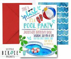 169713158270 POOL PARTY Invitation Pool party birthday invitation Boy Pool Party  birthday party invitation Summer Boy Pool