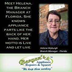 Meet Helena our Florida Branch Manager.  #wekeepthemworking #bergensappliances #appliancerepairs #dishwashers #stoves #washingmachines #tumbledriers #wefixappliances #bergensflorida  Follow us on Instagram and Pinterest Contact:  071 608 2159 Email:  florida@bergens.co.za