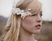 Ready to ship- Ivory birdcage veil with Chenille dots- Best Seller