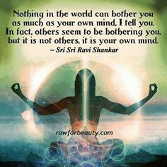 """""""Nothing in the world can bother you as much as your own mind, I tell you. In fact, others seem to be bothering you, but it is not others, it is your own mind."""" ~ Sri Sri Ravi Shankar"""