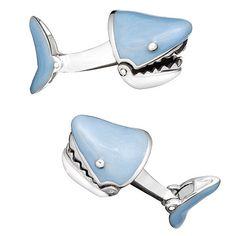 Blue Moving Shark Jaw Cufflinks