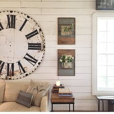 Swooning over Joanna Gains living room! I need that clock in my life!!! @joannagaines #joannagains #farmhouse #homedecor #vintage