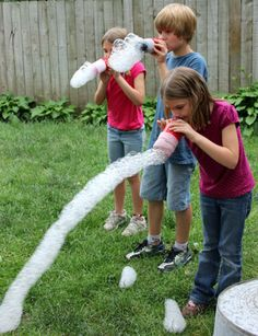 Make bubble snakes using mismatched socks
