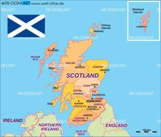 Map of Scotland, Flag of Scotland, UK