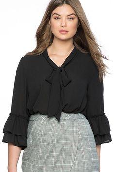 Ladies Plus Size Black Tie Neck Ruffle Sleeve Blouse