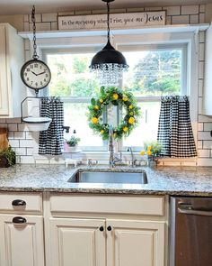 If you are looking for Farmhouse Kitchen Curtains Decor Ideas, You come to the right place. Here are the Farmhouse Kitchen Curtains Decor Ideas. Farmhouse Kitchen Curtains, Kitchen Redo, New Kitchen, Kitchen Remodel, Kitchen Window Decor, Farm House Kitchen Ideas, Curtains For Kitchen Window, Kitchen Cabinets, Kitchen Window Shelves