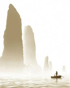 Fan Ho - Through The Mountains. These are the karst peaks in Yangshou, China (via Places to go and things to do / CUBICLE REFUGEE)