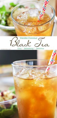 Vanilla Coconut Black Tea is the perfect refreshing beverage to pair with your elevĀte Organic Salad. One of my favorite ice tea recipes that's so easy to make. Oh how I love homebrewed iced tea. Refreshing Drinks, Yummy Drinks, Healthy Drinks, Healthy Food, Sangria, Coconut Tea, Ma Baker, Homemade Iced Tea, Vanilla Tea