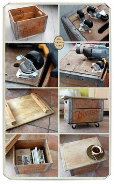 Great old crate turned into a rolling footstool/coffee table.  SO cool!