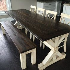 Build a stylish kitchen table with these free farmhouse table plans. They come in a variety of styles and sizes so you can build the perfect one for you. Farmhouse dining room table and Farm table plans. Farmhouse Dining Room Table, Farmhouse Decor, Vintage Farmhouse, Kitchen Table Bench, Narrow Dining Room Table, Dinning Room Bench, Dining Chairs, Dining Ware, White Farmhouse
