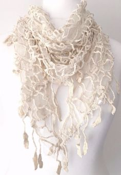 Vintage lace style triangle scarf in ivory cream cotton blend 80 cotton 20 polyester lovely detail and a tassel trim Care Gentle cool hand Cat Scarf, Prom Accessories, Triangle Scarf, Vintage Lace, Vintage Style, Shawls And Wraps, Scarf Styles, Vintage Fashion, Scarves