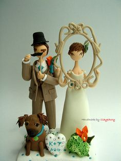 Sweet! Funny Funny Customised Wedding cake topper by Clayphory on Etsy, $130.00