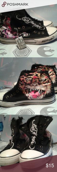 Ed Hardy sneakers Hi top slip on and Love kills slowly skull on one side and colorful tiger on the other. Ed Hardy Shoes Athletic Shoes
