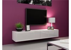 Seattle 21 - Modern TV wall unit with high gloss white MDF fronts Tv Stand High Gloss, White Tv Unit, Hanging Tv, Wall Mount Tv Stand, Ikea Shelving Unit, Modern Room Design, Ikea Regal, Floating Tv Stand, Floating Wall