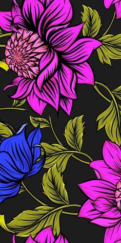 Digital art, flowers, petals, leaves, 1080x2160 wallpaper