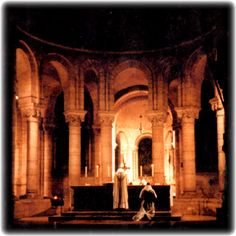 Low Mass, 6:20 am ,Benedictine Abbey  N.D de Fontgombault, France.