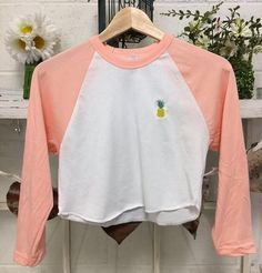 Pineapple Embroidered Loose American Apparel Crop Top 3/4 Sleeve