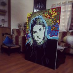 """Kurt cobain. A 4ft painting!"" Photo taken by @hoozinc on Instagram, pinned via the InstaPin iOS App! http://www.instapinapp.com (04/06/2013)"