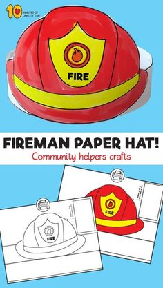 Fireman Crafts, Firefighter Crafts, Community Helpers Crafts, Fireman Hat, Truck Crafts, Daycare Themes, Hat Template, Hat Crafts, Kids Hats