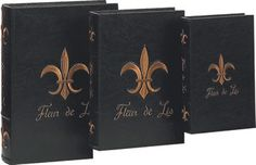 I've always wanted fake books to hide treasures in:-)    New Fleur De Lis Decorative Leather Faux Book Box Set