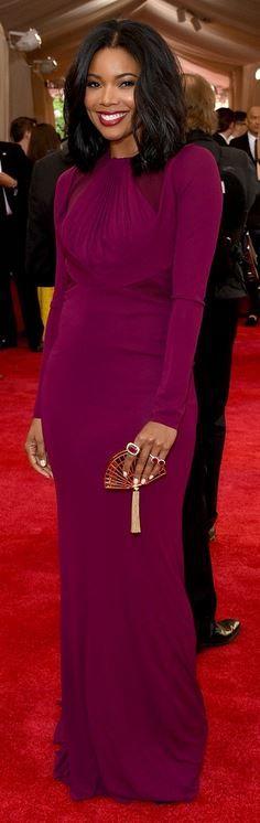 Gabrielle Union: Dress – Zac Posen Jewelry – Kimberly McDonald for Gemfields Purse – Judith Leiber