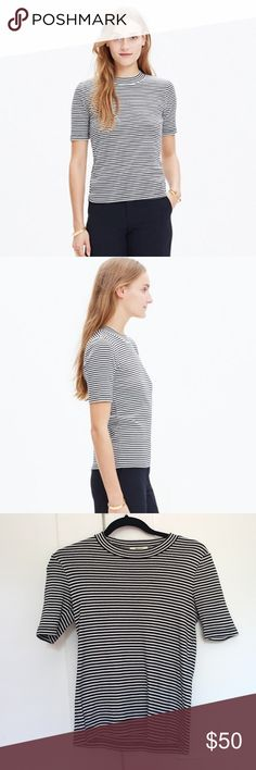 Madewell LoFi Tee in Mini Stripe - like new! French chic striped t makes every outfit instantly chic. This 5 star item from Madewell is made out of thick, quality cotton and I love the neckline. Wore this to meet BF's mom for the first time and nailed it :) XXS but fits like an XS or small (if you know Madewell sizing). Sold out! Madewell Tops