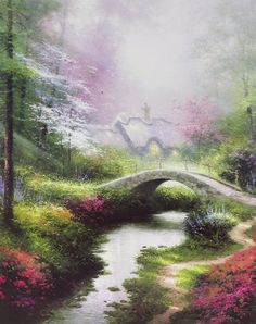 """Brookside Hideaway"" by Thomas Kinkade - Park West Gallery"