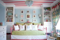 coral blue green girls bedroom decor by kellybb