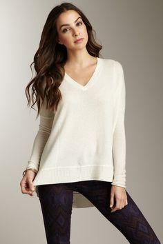 Cullen Cashmere Hi-Lo V-Neck Sweater