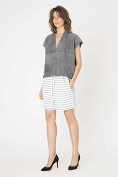 Malvina Suede blouse & Old Spice Jersey Shorts from Ganni Spring/ Summer 2015 collection. Old Spice, Jersey Shorts, Ss 15, Spring Summer 2015, Casual Shorts, Short Dresses, Topshop, Sweatshirts, Blouse