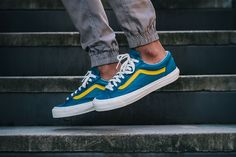 "Vans Vault OG Style 36 LX ""Moroccan Blue"" high-end blue and yellow number Vans Sneakers, Tenis Vans, Converse Sneaker, Sneakers Mode, Blue Sneakers, Vans Shoes, Sneakers Fashion, Leather Sneakers, Men's Leather"