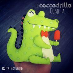 Felt puppet - Crocodile loves icecream