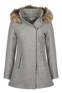 Manteau en feutre court -gris