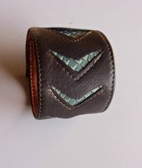 Unisex Leather Cuff in Chocolate Brown and Mint