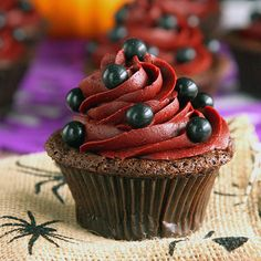 A little bit creepy but a whole lot of classy, these Devil's Food Cupcakes with Wicked Red Velvet Frosting are sure to complete any Halloween party.