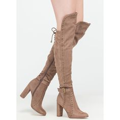 A Hole New World Chunky Thigh-High Boots ($54) ❤ liked on Polyvore featuring shoes, boots, knee-high boots, tan, knee high heel boots, above the knee boots, knee-high lace-up boots, chunky heel boots and over knee boots