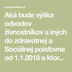 Aká bude výška odvodov živnostníkov ainých do zdravotnej a Sociálnej poisťovne od 1.1.2018 aktorým SZČO sa bude meniť?