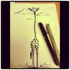 The Art of Bhairavi Kulkarni: INKtober Day02 - Happy Giraffe!