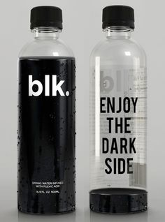 :: PACKAGING :: BLK. BEVERAGES Brilliant Canadian Pure Spring Water & Black, love the packaging, simple and creative. #packaging