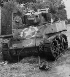 M5 Stuart of 70th Tank Battalion, D Company, knocked out by an anti-tank weapon, Shortly after D-Day, June, 1944 #worldwar2 #tanks